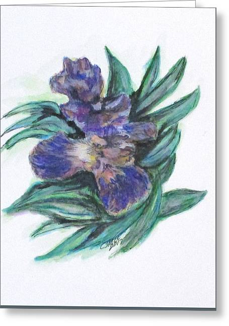 Greeting Card featuring the painting Spring Iris Bloom by Clyde J Kell