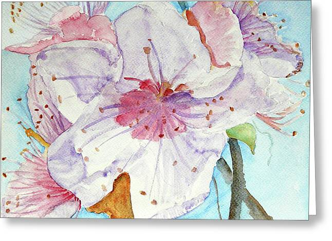Greeting Card featuring the painting Spring by Jasna Dragun