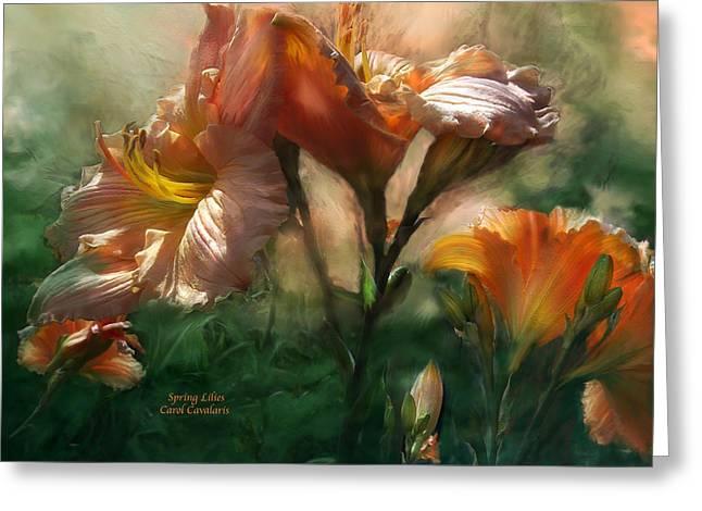Spring Lilies Greeting Card by Carol Cavalaris