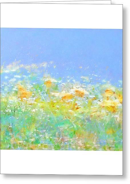Spring Meadow Abstract Greeting Card by Menega Sabidussi