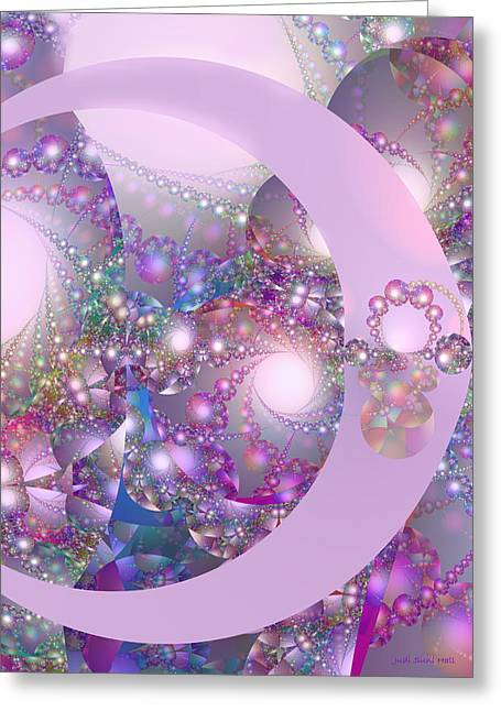 Spring Moon Bubble Fractal Greeting Card by Judi Suni Hall