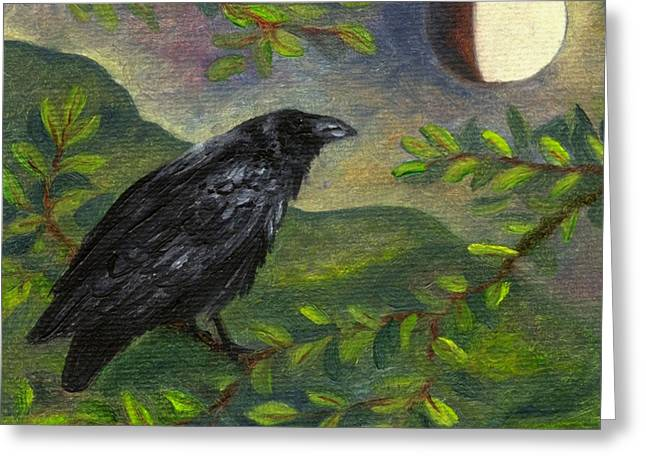 Spring Moon Raven Greeting Card