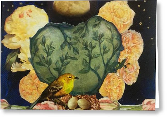 Spring Moonrise Greeting Card by Jo Thompson