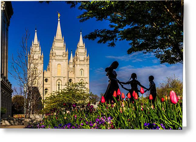Spring Morning At Temple Square Greeting Card by TL  Mair