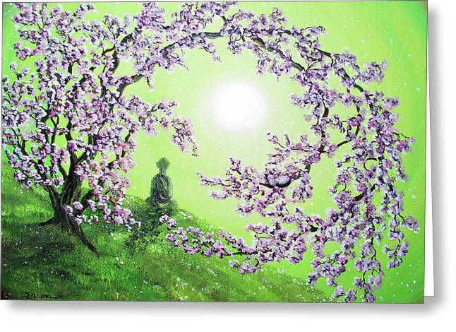 Buddhist Monks Greeting Cards - Spring Morning Meditation Greeting Card by Laura Iverson