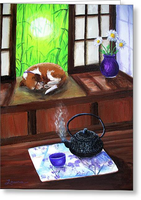 Spring Morning Tea Greeting Card by Laura Iverson