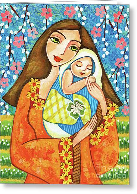 Greeting Card featuring the painting Spring Mother by Eva Campbell