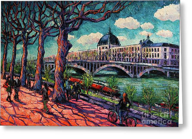 Spring On The Banks Of The Rhone - Lyon France - Modern Impressionist Oil Painting By Mona Edulesco Greeting Card by Mona Edulesco