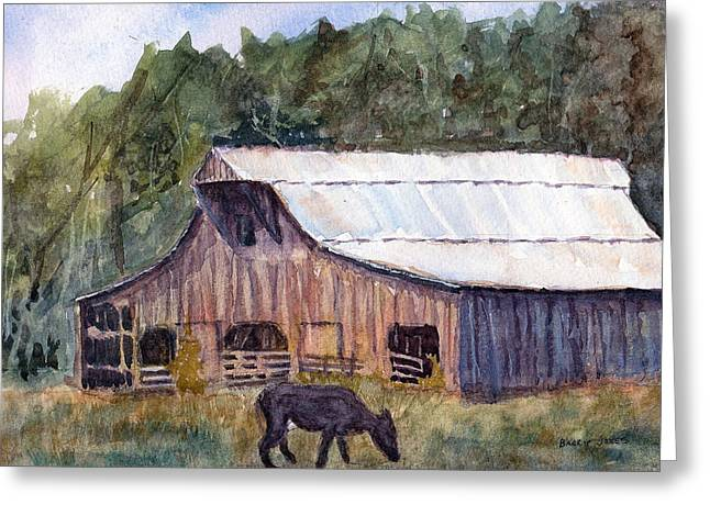 Spring On The Farm - Rural Watercolor Landscape Greeting Card