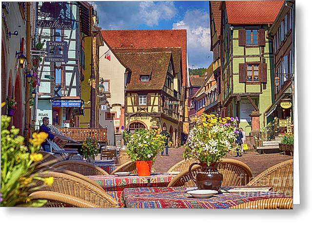 Spring On The Street, Riquewihr, France, Hdr Greeting Card