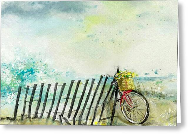 Bicycle Ride. Mayflower Storm. Greeting Card by Mark Tonelli