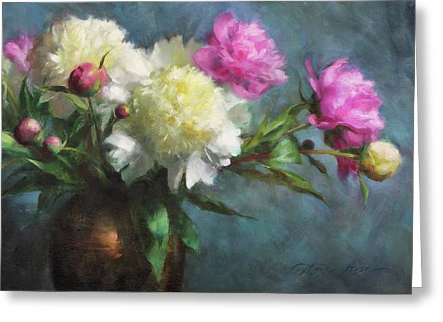 Spring Peonies Greeting Card by Anna Rose Bain