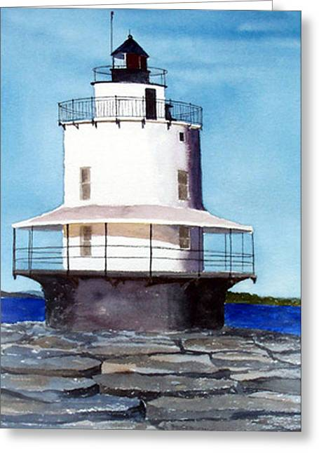 Spring Point Ledge Light Greeting Card by Anne Trotter Hodge