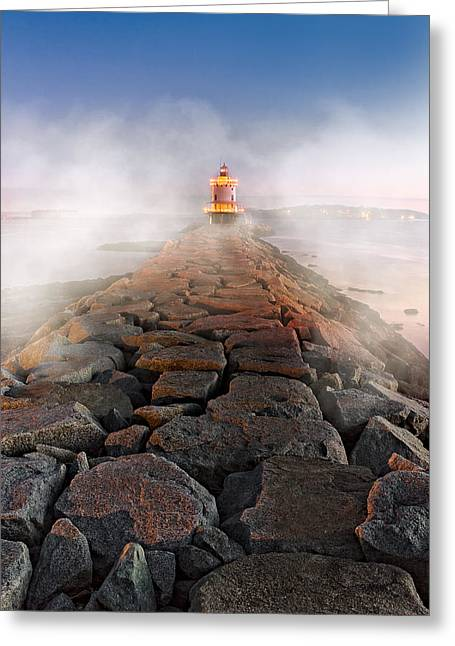 Spring Point Ledge Light Artic Sea Smoke Greeting Card