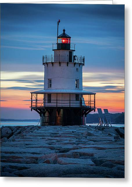 Spring Point Ledge Light Blue Hour II Greeting Card