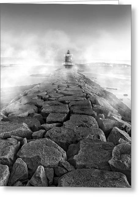 Spring Point Ledge Light Sea Smoke Bw Greeting Card by Susan Candelario