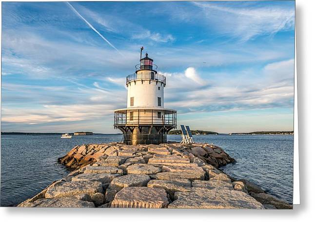 Spring Point Ledge Light Greeting Card by Tim Sullivan