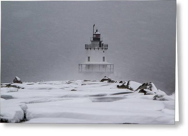 Spring Point Ledge Lighthouse Blizzard Greeting Card
