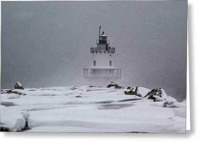 Greeting Card featuring the photograph Spring Point Ledge Lighthouse Blizzard by Darryl Hendricks