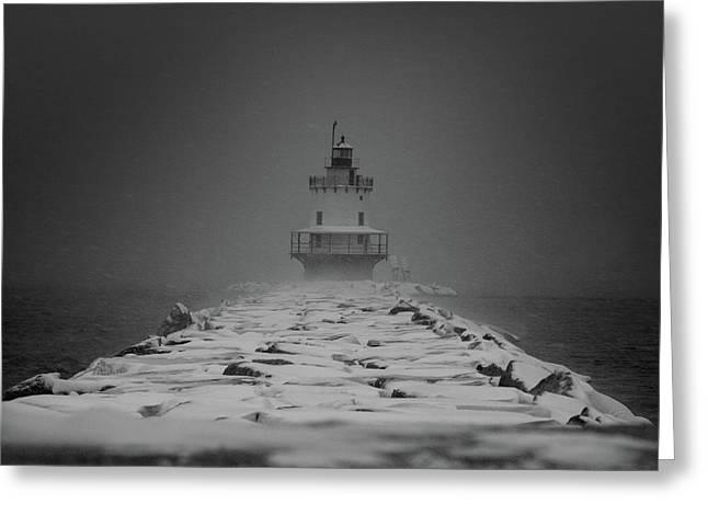Spring Point Ledge Lighthouse Blizzard In Black N White Greeting Card