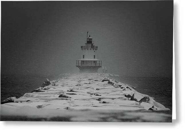 Greeting Card featuring the photograph Spring Point Ledge Lighthouse Blizzard In Black N White by Darryl Hendricks