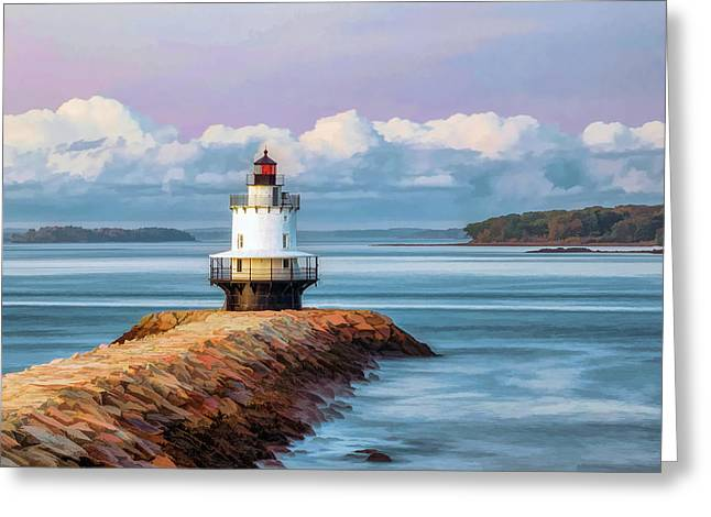 Greeting Card featuring the painting Spring Point Ledge Lighthouse by Christopher Arndt
