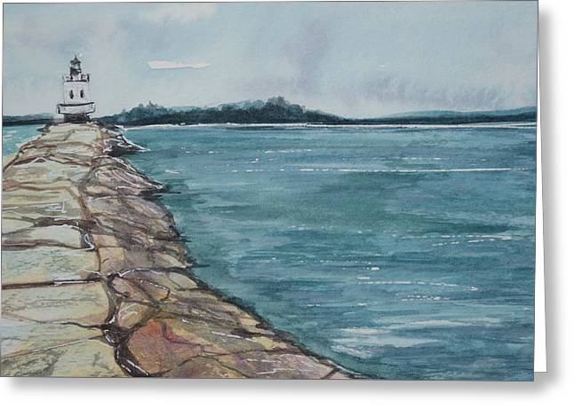 Spring Point Ledge Lighthouse Greeting Card by Kellie Chasse