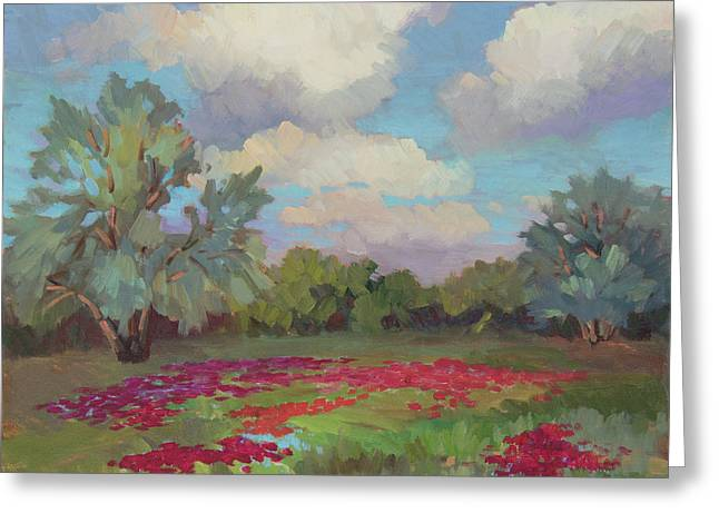 Greeting Card featuring the painting Spring Poppies by Diane McClary