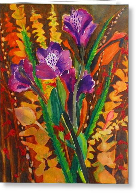 Spring Purple Bouquet Greeting Card by Henny Dagenais