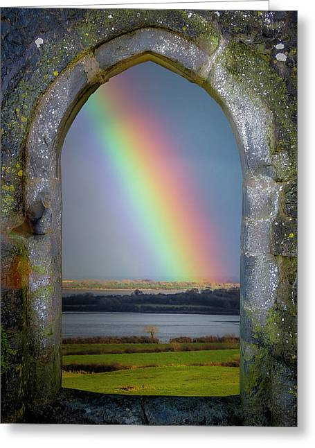 Greeting Card featuring the photograph Spring Rainbow Over Ireland's Shannon Estuary by James Truett