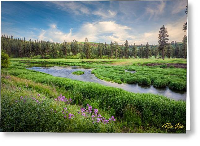 Greeting Card featuring the photograph Spring River Valley by Rikk Flohr