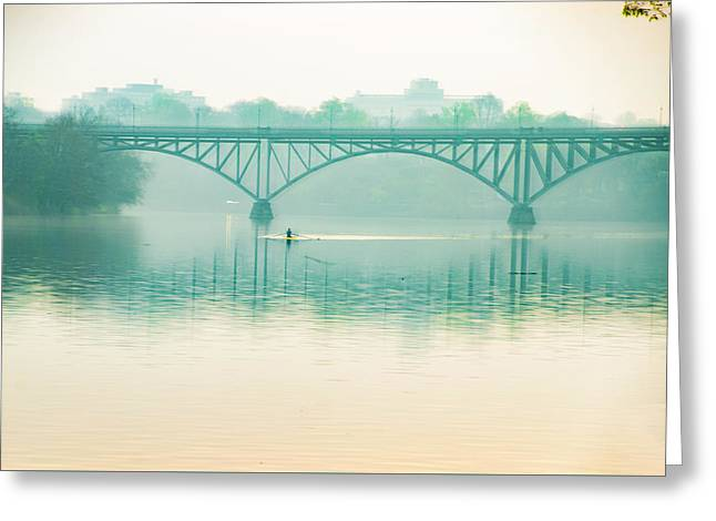 Spring - Rowing Under The Strawberry Mansion Bridge Greeting Card