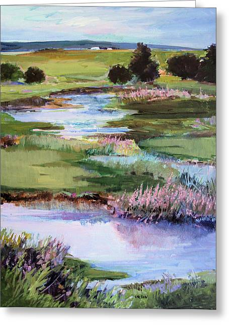 Greeting Card featuring the painting Spring Runoff by Diane Ursin