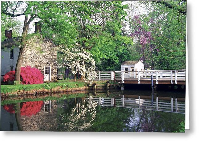 Spring Scene At The Griggstown Bridge Greeting Card by George Oze