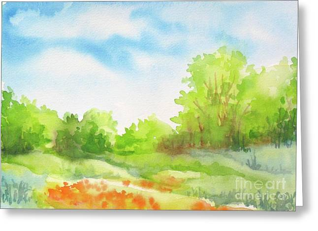 Greeting Card featuring the painting Spring Scene by Inese Poga