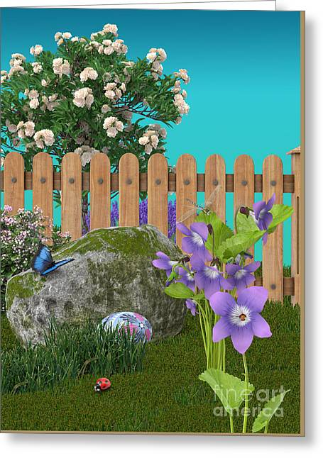 Greeting Card featuring the digital art Spring Scene by Mary Machare