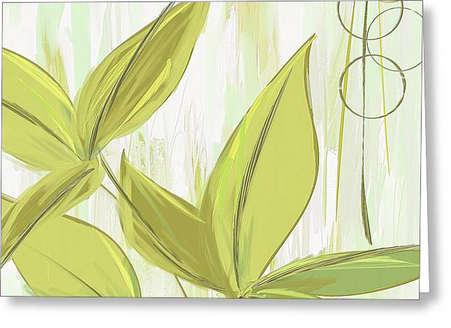 Spring Shades - Muted Green Art Greeting Card by Lourry Legarde