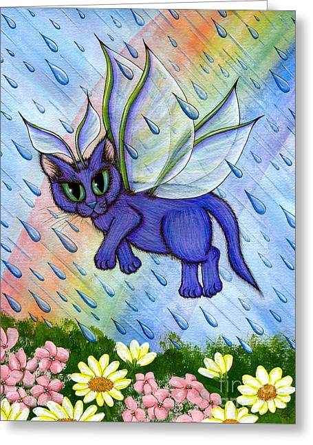 Spring Showers Fairy Cat Greeting Card
