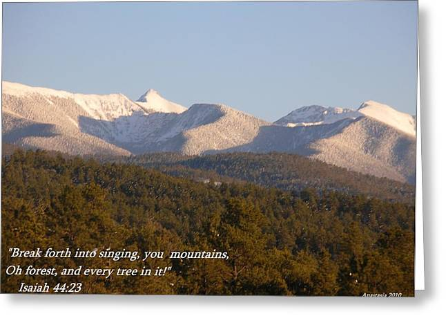 Greeting Card featuring the photograph Spring Snow On The Sangre De Cristos Truchas Peaks by Anastasia Savage Ealy