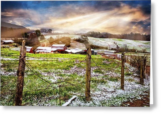 Spring Snowfall Greeting Card by Debra and Dave Vanderlaan