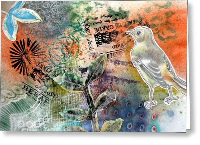 Greeting Card featuring the mixed media Spring Song by Rose Legge