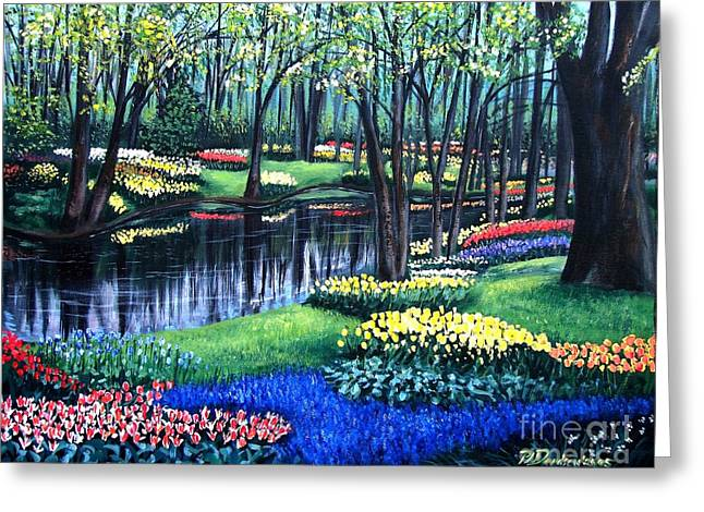 Greeting Card featuring the painting Spring Splendor Tulip Garden by Patricia L Davidson