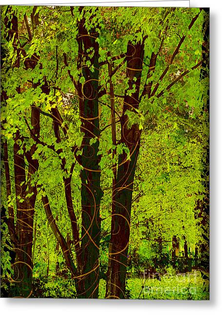 Spring Splendor, Verdant Green Fall Leaves Greeting Card by Tina Lavoie