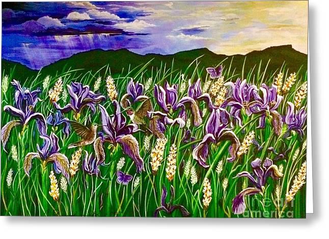 Spring Storm  Iris Fields Greeting Card