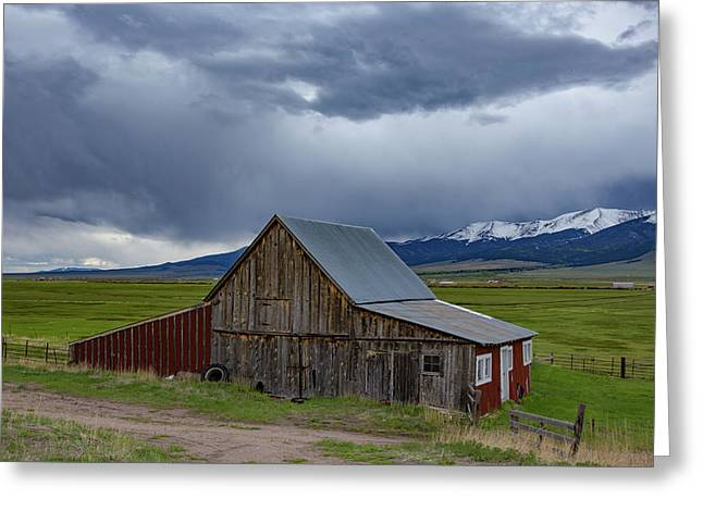 Spring Storm Looms Above The Wet Mountain Valley Greeting Card