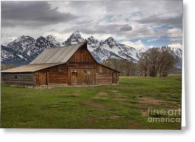 Spring Storms Over The Moulton Barn Greeting Card by Adam Jewell