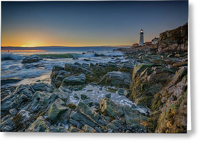 Spring Sunrise At Portland Head Greeting Card by Rick Berk