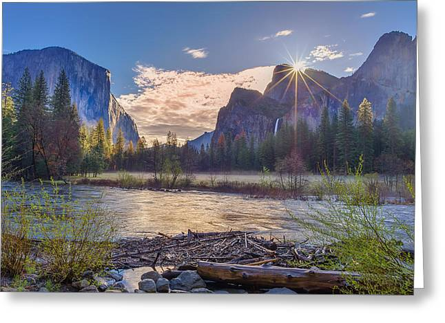 Spring Sunrise At Yosemite Valley Greeting Card by Scott McGuire