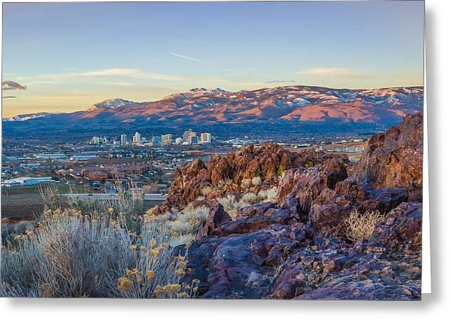 Spring Sunrise Overlooking Reno Nevada Greeting Card