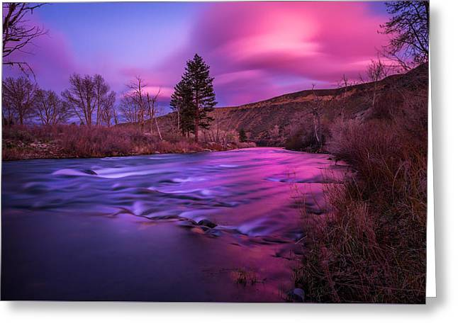 Spring Sunset Along The Truckee River Reno Nevada Greeting Card